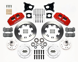 Wilwood Forged Dynapro 6 Big Brake Front Brake Kit (Hub) Parts Laid Out - Red Powder Coat Caliper - Plain Face Rotor