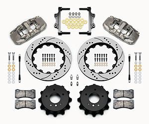 Wilwood AERO4 Big Brake Rear Brake Kit For OE Parking Brake Parts Laid Out - Nickel Plate Caliper - SRP Drilled & Slotted Rotor