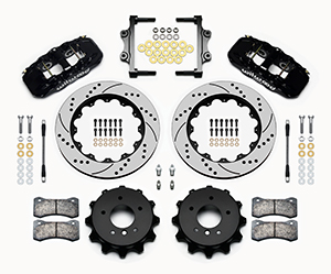 Wilwood AERO4 Big Brake Rear Brake Kit For OE Parking Brake Parts Laid Out - Black Powder Coat Caliper - SRP Drilled & Slotted Rotor