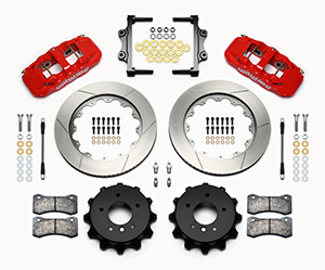 Wilwood AERO4 Big Brake Rear Brake Kit For OE Parking Brake Parts Laid Out - Red Powder Coat Caliper - GT Slotted Rotor