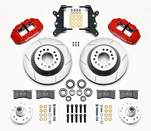 Wilwood Forged Narrow Superlite 6R Big Brake Front Brake Kit (Hub and 1PC Rotor) Parts Laid Out - Red Powder Coat Caliper - GT Slotted Rotor