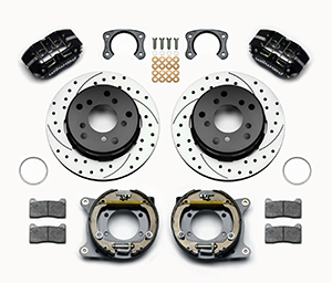 Wilwood Dynapro Lug Mount Rear Parking Brake Kit Parts Laid Out - Black Powder Coat Caliper - SRP Drilled & Slotted Rotor