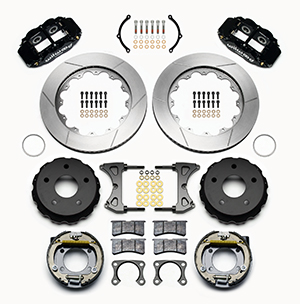 Wilwood Forged Narrow Superlite 4R Big Brake Rear Parking Brake Kit Parts Laid Out - Black Powder Coat Caliper - GT Slotted Rotor
