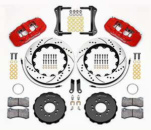 Wilwood AERO6 Big Brake Front Brake Kit Parts Laid Out - Red Powder Coat Caliper - SRP Drilled & Slotted Rotor