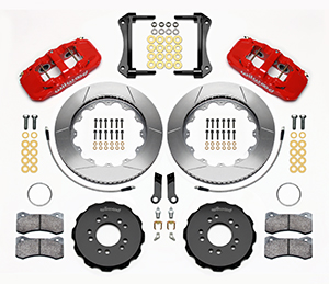 Wilwood AERO6 Big Brake Front Brake Kit Parts Laid Out - Red Powder Coat Caliper - GT Slotted Rotor