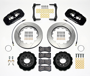 Wilwood AERO4 Big Brake Rear Brake Kit For OE Parking Brake Parts Laid Out - Black Powder Coat Caliper - GT Slotted Rotor