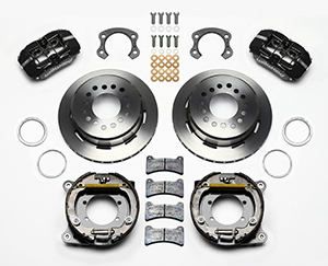 Wilwood Dynapro Low-Profile Rear Parking Brake Kit Parts Laid Out - Black Anodize Caliper - Plain Face Rotor