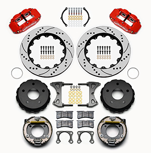 Wilwood Forged Narrow Superlite 4R Big Brake Rear Parking Brake Kit Parts Laid Out - Red Powder Coat Caliper - SRP Drilled & Slotted Rotor