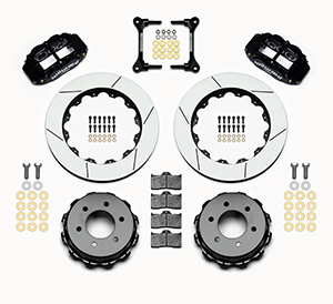 Wilwood Forged Narrow Superlite 6R Big Brake Rear Brake Kit For OE Parking Brake Parts Laid Out - Black Powder Coat Caliper - GT Slotted Rotor