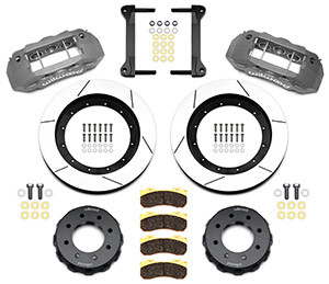 Wilwood TX6R Big Brake Truck Front Brake Kit Parts Laid Out - Type III Ano Caliper - GT Slotted Rotor