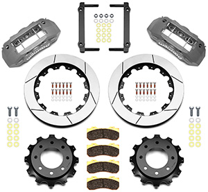 Wilwood TX6R Big Brake Truck Rear Brake Kit Parts Laid Out - Type III Ano Caliper - GT Slotted Rotor