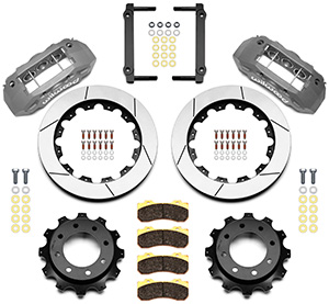 Wilwood TX6R Big Brake Truck Rear Brake Kit Parts Laid Out - Clear Anodize Caliper - GT Slotted Rotor