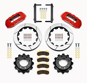 Wilwood TX6R Big Brake Truck Rear Brake Kit Parts Laid Out - Red Powder Coat Caliper - GT Slotted Rotor