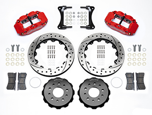 Wilwood Forged Narrow Superlite 4R Big Brake Front Brake Kit (Hat) Parts Laid Out - Red Powder Coat Caliper - SRP Drilled & Slotted Rotor