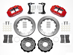 Wilwood Forged Narrow Superlite 4R Big Brake Front Brake Kit (Hat) Parts Laid Out - Red Powder Coat Caliper - Plain Face Rotor