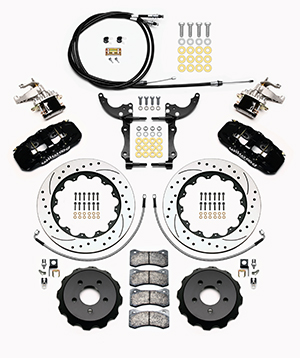 Wilwood AERO4-MC4 Big Brake Rear Parking Brake Kit Parts Laid Out - Black Powder Coat Caliper - SRP Drilled & Slotted Rotor