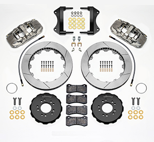 Wilwood AERO6 Big Brake Front Brake Kit Parts Laid Out - Nickel Plate Caliper - GT Slotted Rotor