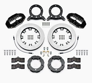 Wilwood D8-4 Truck Front Brake Kit Parts Laid Out - Black Powder Coat Caliper - Plain Face Rotor
