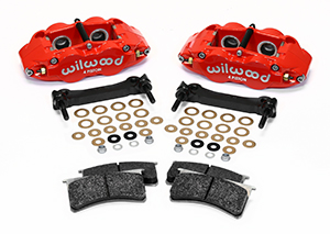 Wilwood Forged Narrow Superlite 4R Caliper and Bracket Upgrade Kit for Corvette C5-C6 Parts Laid Out - Red Powder Coat Caliper