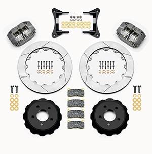 Wilwood Dynapro Radial Front Drag Brake Kit Parts Laid Out - Black Anodize Caliper - GT Slotted Rotor