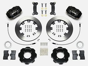 Wilwood Forged Dynalite Big Brake Front Brake Kit (Hat) Parts Laid Out - Black Powder Coat Caliper - Plain Face Rotor