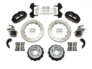 Wilwood Forged Narrow Superlite 4R-MC4 Big Brake Rear Parking Brake Kit Parts Laid Out - Black Powder Coat Caliper - GT Slotted Rotor