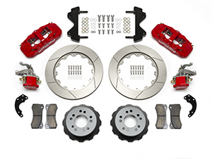 Wilwood AERO4-MC4 Big Brake Rear Parking Brake Kit Parts Laid Out - Red Powder Coat Caliper - GT Slotted Rotor