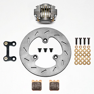 Wilwood Dynapro Single Left Front Brake Kit Parts Laid Out - Type III Ano Caliper - Slotted Rotor