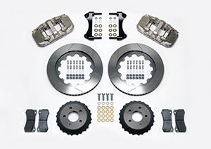 Wilwood AERO6 Big Brake Front Brake Kit (Race) Parts Laid Out - Nickel Plate Caliper - GT Slotted Rotor