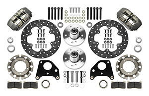 Wilwood Dynapro Lug Mount Front Dynamic Drag Brake Kit Parts Laid Out - Type III Ano Caliper - Drilled Rotor