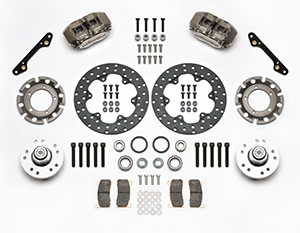 Wilwood Dynapro Lug Mount Front Dynamic Drag Brake Kit Parts Laid Out - Nickel Plate Caliper - Drilled Rotor