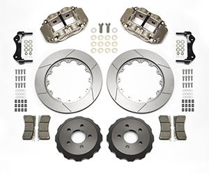 Wilwood Forged Superlite 4R Big Brake Rear Brake Kit (Race) Parts Laid Out - Nickel Plate Caliper - GT Slotted Rotor
