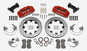 Wilwood Forged Dynapro 6 Big Brake Front Brake Kit (5 x 5 Hub) Parts Laid Out - Red Powder Coat Caliper - SRP Drilled & Slotted Rotor