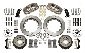 Wilwood AERO6 Big Brake Dynamic Front Brake Kit Parts Laid Out - Nickel Plate Caliper - GT Slotted Rotor