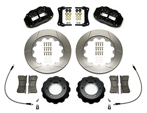 Wilwood Forged Narrow Superlite 6R Big Brake Front Brake Kit (Hat) Parts Laid Out - Black Powder Coat Caliper - GT Slotted Rotor