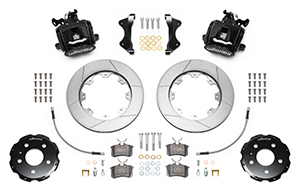Wilwood Combination Parking Brake Caliper Rear Brake Kit Parts Laid Out - Black Powder Coat Caliper - GT Slotted Rotor