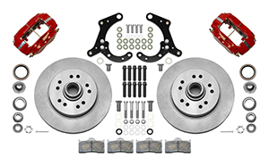 Wilwood Classic Series Dynalite Front Brake Kit Parts Laid Out - Red Powder Coat Caliper - Plain Face Rotor