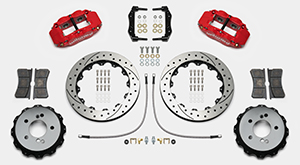 Wilwood Forged Narrow Superlite 4R Big Brake Rear Brake Kit For OE Parking Brake Parts Laid Out - Red Powder Coat Caliper - SRP Drilled & Slotted Rotor