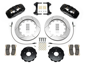 Wilwood AERO6 Big Brake Front Brake Kit Parts Laid Out - Black Powder Coat Caliper - GT Slotted Rotor