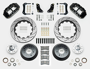 Wilwood Forged Narrow Superlite 6R Big Brake Front Brake Kit (Hub) Parts Laid Out - Black Powder Coat Caliper - SRP Drilled & Slotted Rotor