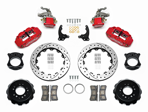 Wilwood Forged Narrow Superlite 4R-MC4 Big Brake Rear Parking Brake Kit Parts Laid Out - Red Powder Coat Caliper - SRP Drilled & Slotted Rotor