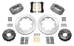 Wilwood Dynapro Radial Big Brake Front Brake Kit (Race) Parts Laid Out - Type III Ano Caliper - GT Slotted Rotor