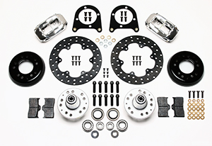 Wilwood Forged Dynalite Front Drag Brake Kit Parts Laid Out - Polish Caliper - Drilled Rotor