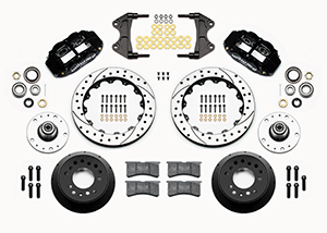 Wilwood Forged Narrow Superlite 6R Big Brake Front Brake Kit (5 x 5 Hub) Parts Laid Out - Black Powder Coat Caliper - SRP Drilled & Slotted Rotor