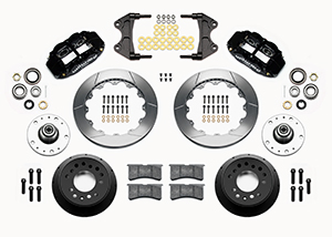 Wilwood Forged Narrow Superlite 6R Big Brake Front Brake Kit (5 x 5 Hub) Parts Laid Out - Black Powder Coat Caliper - GT Slotted Rotor