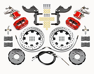 Wilwood Dynapro Radial-MC4 Rear Parking Brake Kit Parts Laid Out - Red Powder Coat Caliper - SRP Drilled & Slotted Rotor