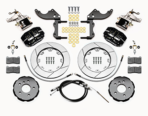 Wilwood Dynapro Radial-MC4 Rear Parking Brake Kit Parts Laid Out - Black Powder Coat Caliper - GT Slotted Rotor