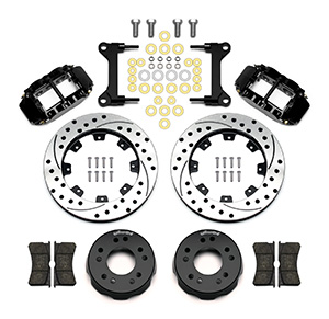 Wilwood Forged Narrow Superlite 4R Big Brake Front Brake Kit (Hat) Parts Laid Out - Black Powder Coat Caliper - SRP Drilled & Slotted Rotor