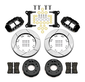 Wilwood Forged Narrow Superlite 4R Big Brake Front Brake Kit (Hat) Parts Laid Out - Black Powder Coat Caliper - GT Slotted Rotor