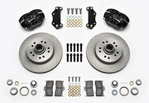 Wilwood Classic Series Dynalite Front Brake Kit Parts Laid Out - Black Powder Coat Caliper - Plain Face Rotor